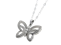 Sterling Silver and Diamond Butterfly Diamond Pendant