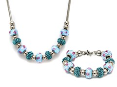 Stainless Steel Blue Mix Charm Set
