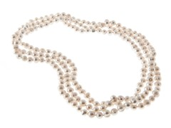 White Fresh Water Pearl Necklace, 64""