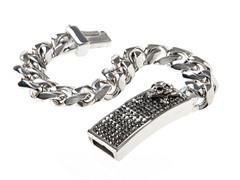 Stainless Steel & Hematite Crystal Cuban Link Skull Bracelet