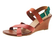 Carrini Criss-Cross Low Wedge Sandal, Coral/Org/Gr
