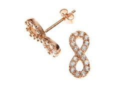 18kt Rose Gold Plated Infinity Earrings