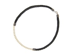 Pearl Bali Necklace w/ Leather