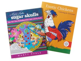 Coloring Book 2 PK - Exotic Chickens/Sugar Skulls