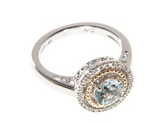 Silver & 14k Gold Aquamarine Ring
