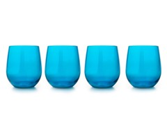 Zak Designs Adele Azure 14oz Stemless Wine Glass (4)