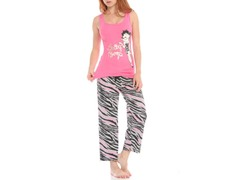 Betty Boop Capri Sleep Set, Pink / Gray Zebra