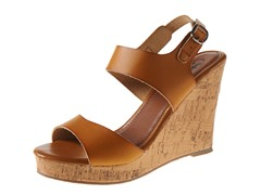Carrini Double Strapped Wedge Sandal, Camel/Camel