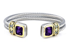 Regal Jewelry 18K Gold-Plated Double Square Bangle In Lavender Color