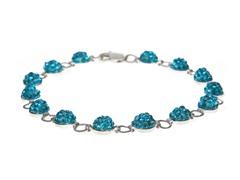 SS Blue Half Crystal Balls Bracelet
