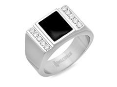 Men's Ring w/ Center Black IP & Diamond
