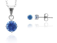 SS Blue Earring & Pendant Set