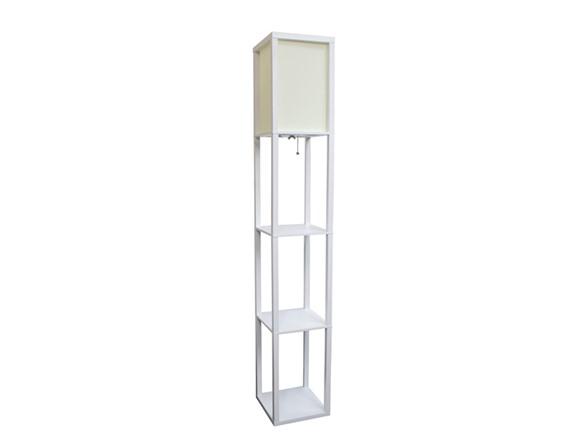 floor lamp etagere organizer storage shelf with linen shade. Black Bedroom Furniture Sets. Home Design Ideas