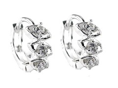 Sterling Silver Fancy Tri-Stone Simulated Diamond Huggies