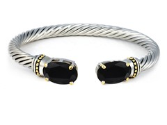 Regal Jewelry 18K Gold-Plated Simulated Black Diamond Bangle