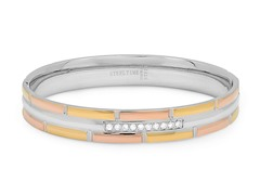 Tri-Color Bangle w/ Simulated Diamonds