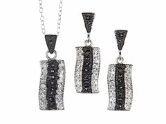 Black/White Marcasite Rectangle CZ Set
