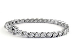 Fancy White Gold Plated 7.5CTTW Tennis Bracelet