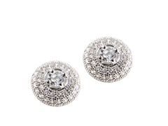 Sterling Silver CZ Halo Earring