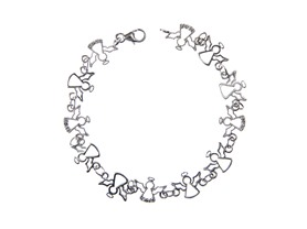 Sterling Silver & Diamond Angel Bracelet