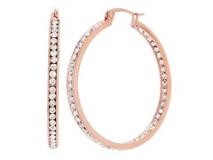 18kt Rose Gold Plated 40mm CZ Hoops