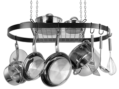 Black Oval Pot Rack - Ceiling Mount