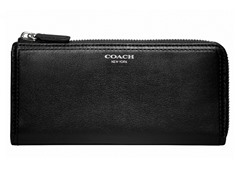 Coach Legacy Leather Slim Zip Wallet, Silver/Black