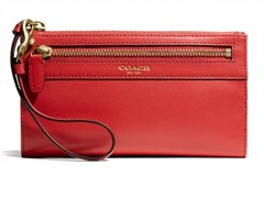 Coach Legacy Leather Zippy Wallet, Brass/Red