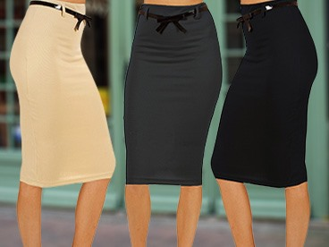 3-Packs of Pencil Skirts, 2 Styles