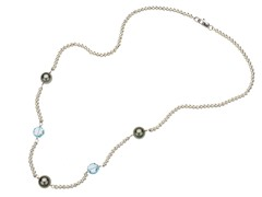 SS Tahitian Pearl & Blue Topaz Station Necklace