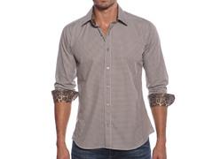 Jared Lang Dress Shirt, Brown Check