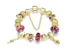 Gold & Milk Ruby Pandora Inspired Bracelet
