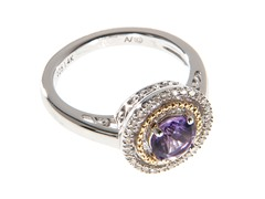 Silver & 14k Gold Amethyst Ring