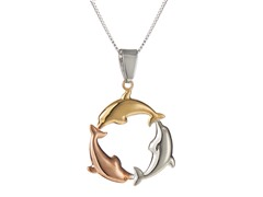10kt Gold & Silver Dolphin Pendant