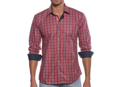 Jared Lang Dress Shirt, Red/Navy Check