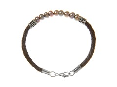Pearl Bali Bracelet w/ Leather