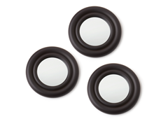 "Set of 3- 12"" Espresso Round Mirrors"