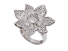 Rhodium Plated Sim Diamond Sunflower Ring