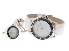 Men's Watch, Cufflink Set, White Dial