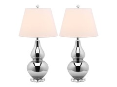 Safavieh Set 2 Metal/Glass Table Lamps