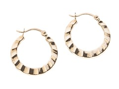 14kt Gold Scallopped Hoop Earrings, Gold