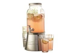 Newport 6Pc Clear Beverage Dispenser Set
