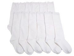 12-Pr Unisex White Knee High Socks
