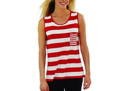 Women's Sleeveless Shirt, Red and White Stripe