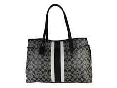 Coach Large Signature Carryall, Black/White