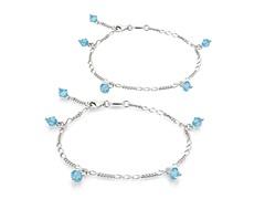 Swiss Blue Topaz Bracelet & Anklet Set