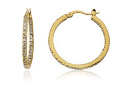 Riccova Retro 14K Gold Plated CZ Inside Outside Medium Hoop Earring