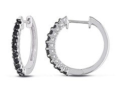 0.5cttw Black Diamond Hoop Earrings