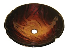 Glass Vessel Sink, Red/Gold