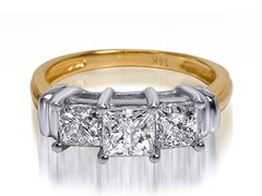 1.50 CTTW 3-Stone Princess Cut Diamond Ring - Yellow Gold